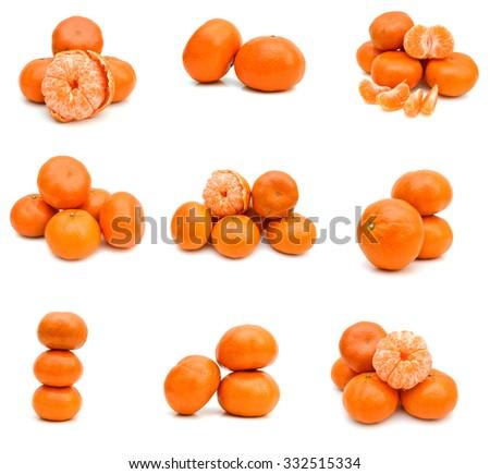 Ripe mandarin citrus isolated tangerine mandarine orange on white background.  - stock photo
