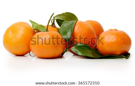 Ripe mandarin (satsuma or tangerine) isolated on a white background - stock photo