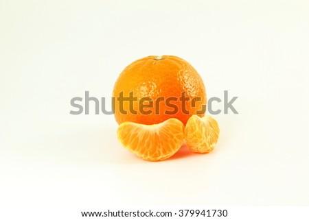 Ripe mandarin  tangerine orange  on a white background - stock photo