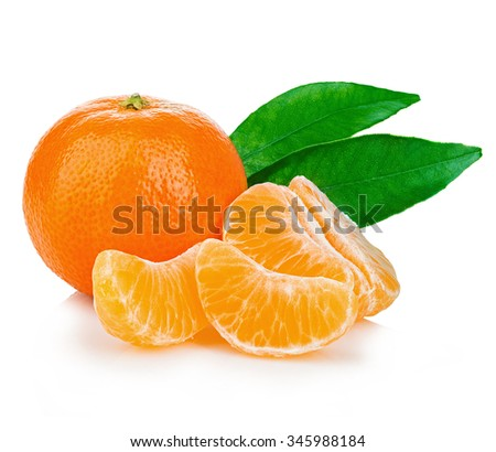 Ripe mandarin with leaves close-up on a white background. Tangerine orange with leaves on a white background.  - stock photo