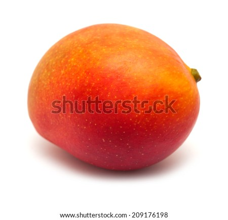 ripe mango fruit isolated on white - stock photo