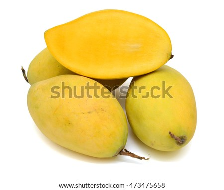 Ripe mango fruits (Mangifera) isolated on white background