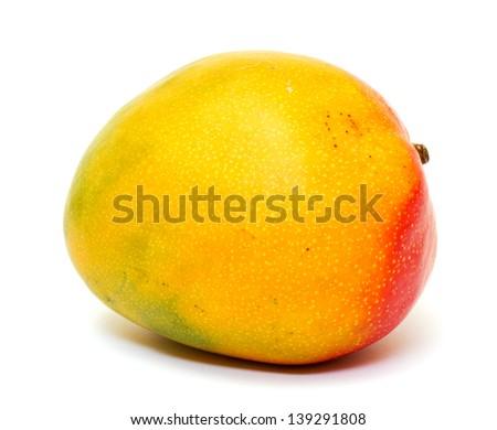 Ripe mango isolated  on white background - stock photo