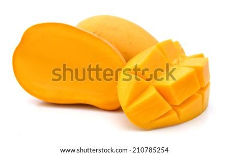 Ripe mango slices on white  - stock photo