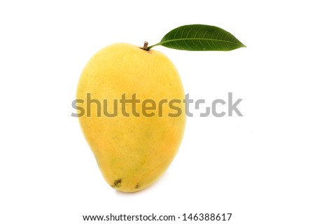 Ripe mango with green leaf