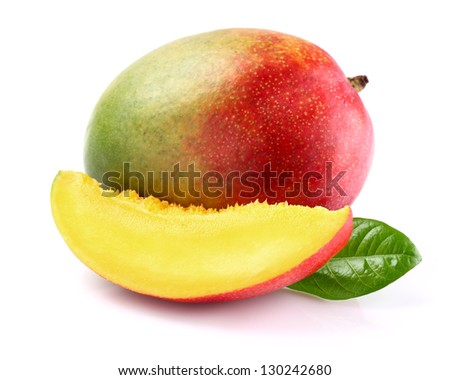 Ripe mango with slice - stock photo
