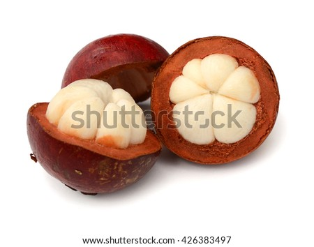 ripe mangosteen fruit isolated on white background