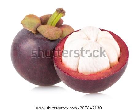 ripe mangosteen isolated on white background - stock photo