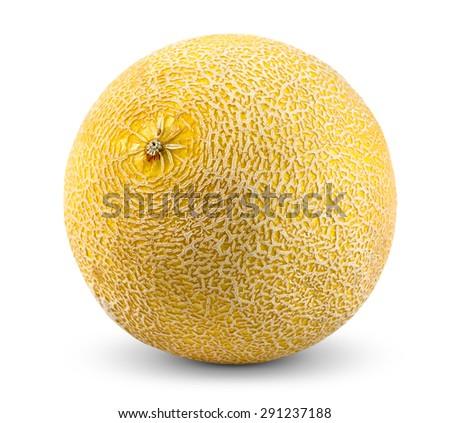 Ripe Melon Galia isolated on white background - stock photo