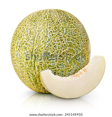Ripe melon with slice isolated on white background - stock photo
