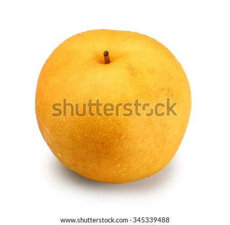 Ripe Nashi pear studio isolated on white background - stock photo