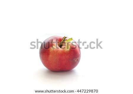 Ripe nectarine on white background - stock photo
