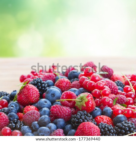 ripe of  berries on wooden table in garden  - blackberry, raspberry , red currant and blueberry - stock photo