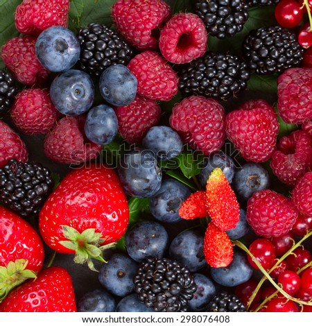 ripe  of fresh  berries close up background - stock photo