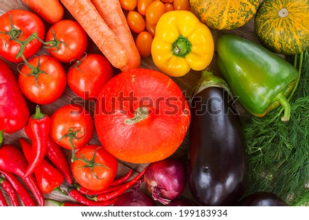 ripe of fresh vegetables in rainbow colors   - pumpkin, tomatoes,  peppers,  onions, eggplants - stock photo