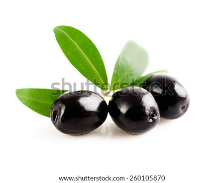 Ripe olives with a sprig isolated on a white background. - stock photo