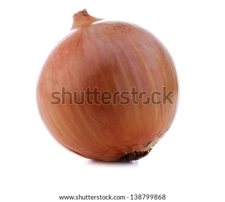 Ripe onion on a white background isolated