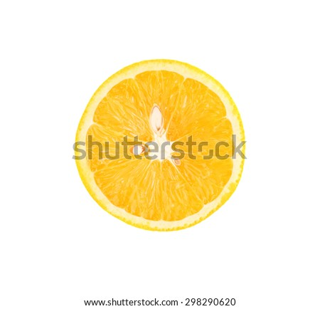 Ripe orange cut in half isolated over the white background, top view - stock photo