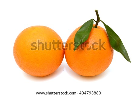 Ripe Orange fruit with leaves isolated on white background