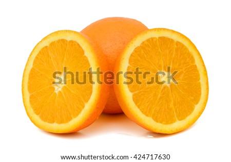 Ripe orange fruit with slices isolated on white background - stock photo