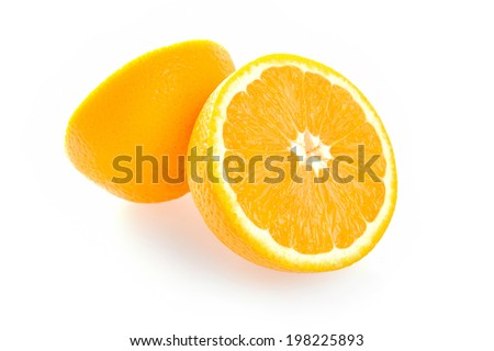 Ripe orange isolate on white background