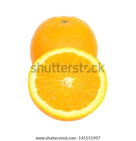 Ripe orange isolated on white background