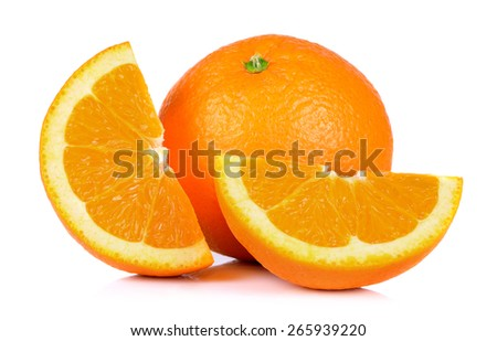 Ripe orange isolated on white background. - stock photo