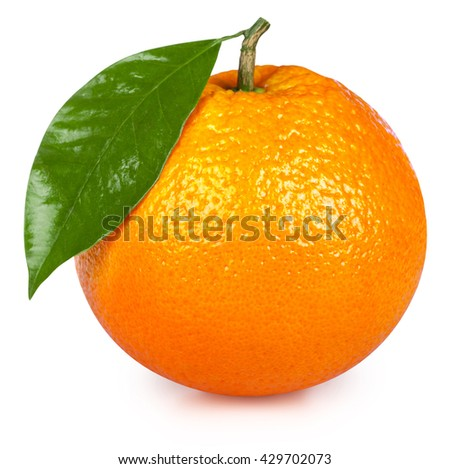 Ripe orange isolated on white background. Clipping Path