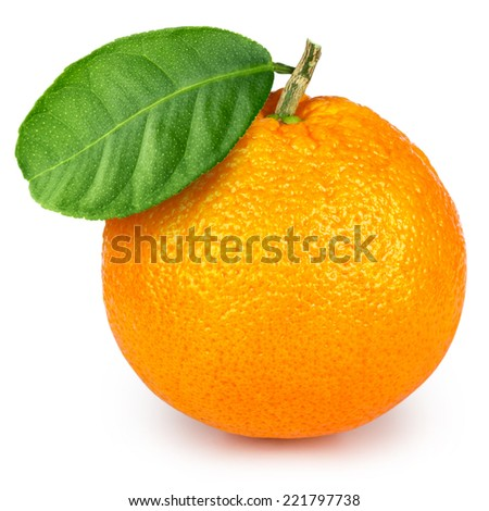 Ripe orange isolated on white Clipping Path - stock photo