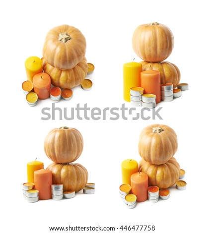 Ripe orange pumpkins and candles Halloween composition isolated over the white background, set of four different foreshortenings - stock photo