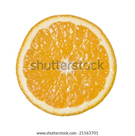 ripe orange slice over white background