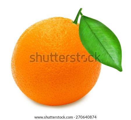 Ripe orange with leaf on a white background isolated - stock photo