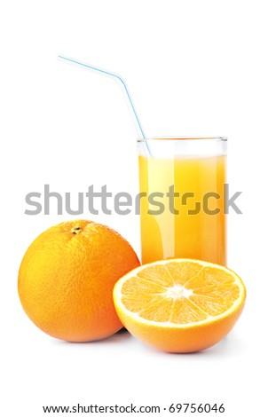 Ripe oranges and freshess juice on white