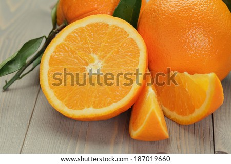 ripe oranges on wooden table, rustic style