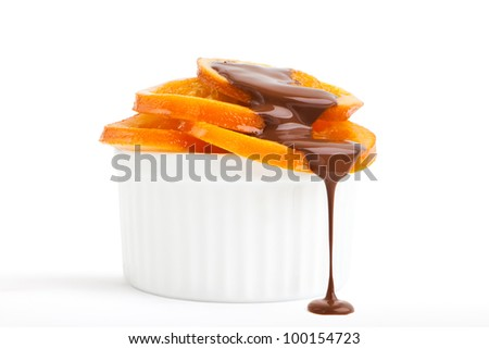 Ripe oranges with chocolate
