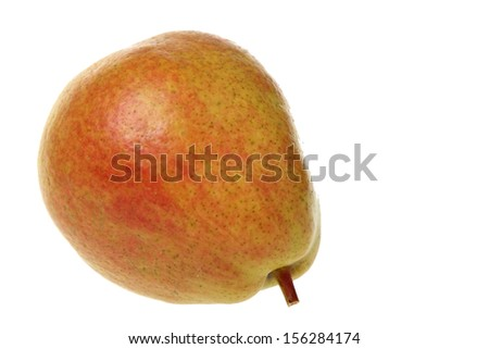 Ripe organic pear on a white background on Food and Drink