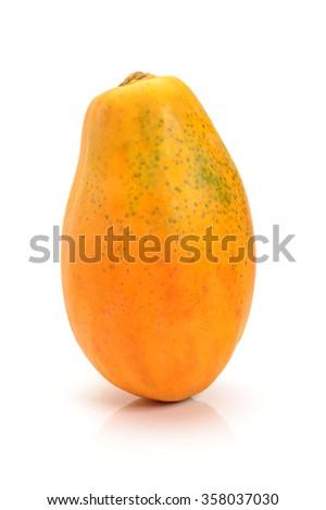 ripe papaya isolated on a white background - stock photo