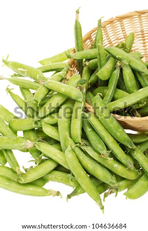 Ripe pea vegetable. Isolated on white background