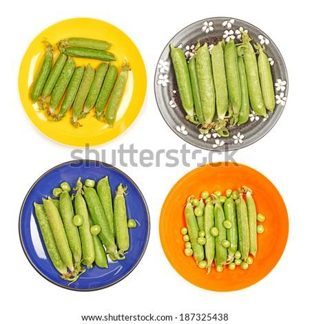 Ripe pea vegetable on white background  - stock photo