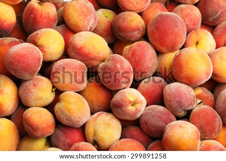 Ripe peach fruit background, close up - stock photo