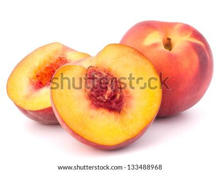 Ripe peach  fruit isolated on white background cutout - stock photo