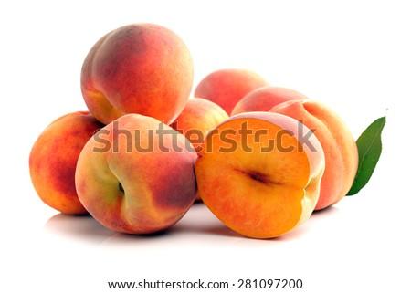ripe peach on white background  - stock photo