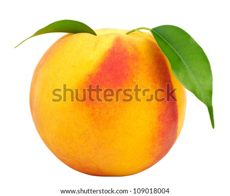 Ripe peach with leaves isolated on a white background. - stock photo