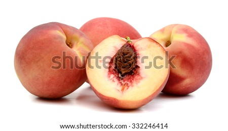 ripe peaches on white background