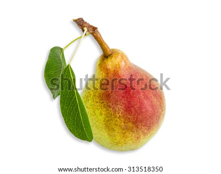 Ripe pear Bartlett with two leaves on a light background. Isolation.