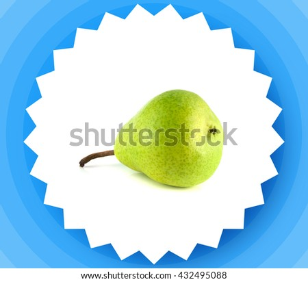 Ripe pear. Healthy diet fruit. Fresh organic food. Fresh natural pear. Health organic pear. Food on white star. Beautiful tasty pear. - stock photo