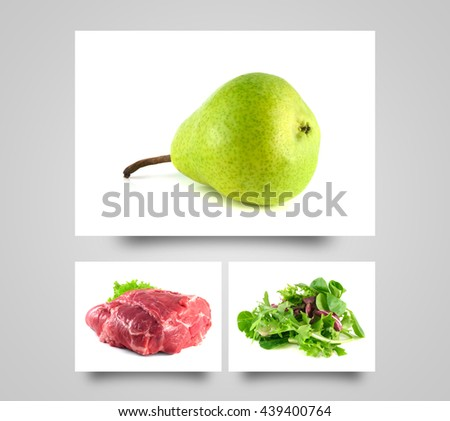 Ripe pear. Healthy diet fruit. Fresh organic food. Green mix salad. Raw pork neck meat. Fresh pear on white background. - stock photo
