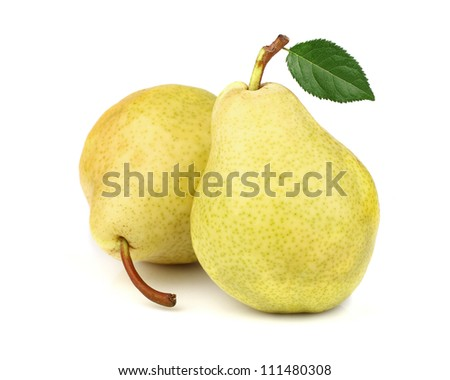 Ripe pear with leaf