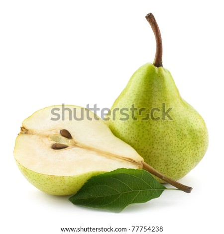 ripe pears half isolated on white background