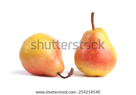 Ripe pears on white background. - stock photo
